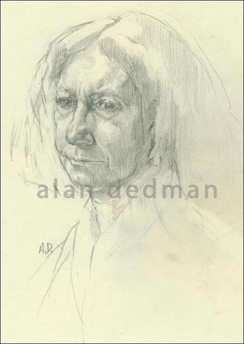Academic pencil study drawing portrait by Alan Dedman